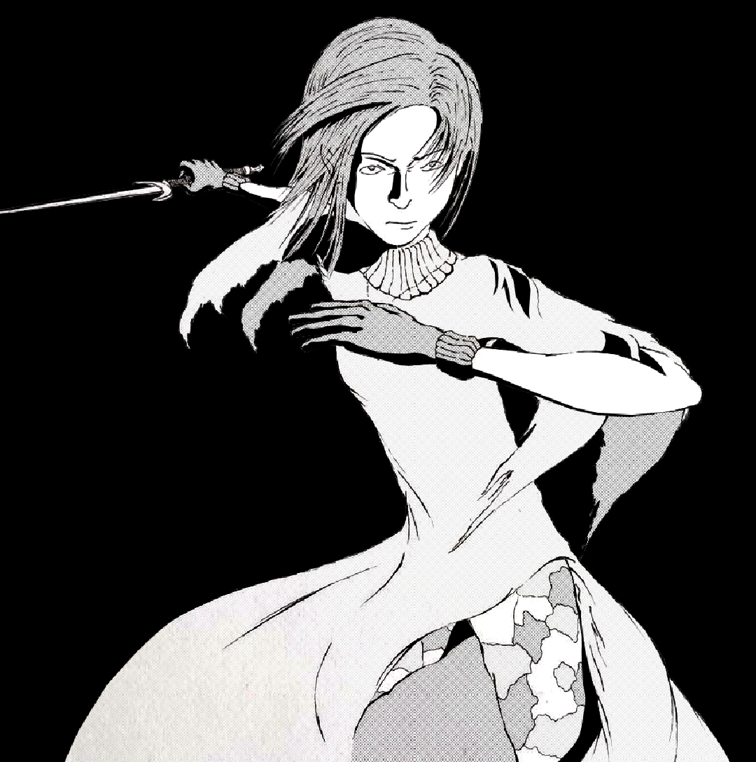 An illustration of a female figure holding a sword in a fighting stance