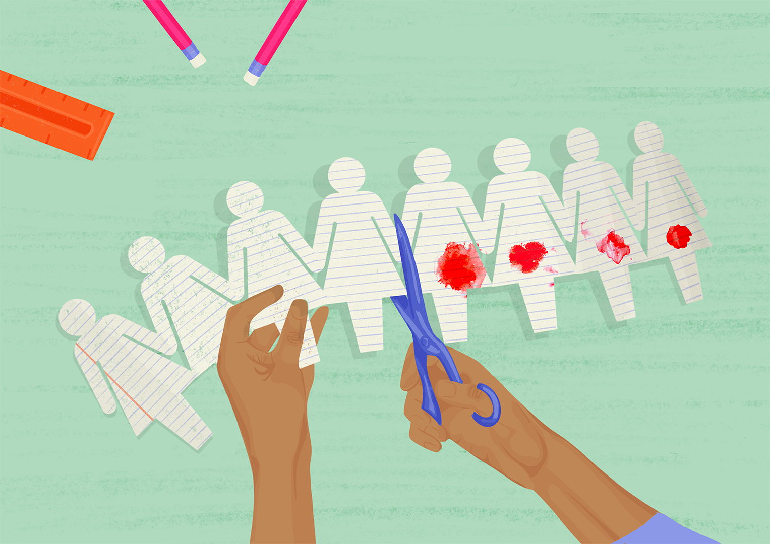 An illustration showing a paper chain of female figures. A pair of hands is shown cutting the chain to separate the clean paper figures from ones that have large spots of blood on their lower body.