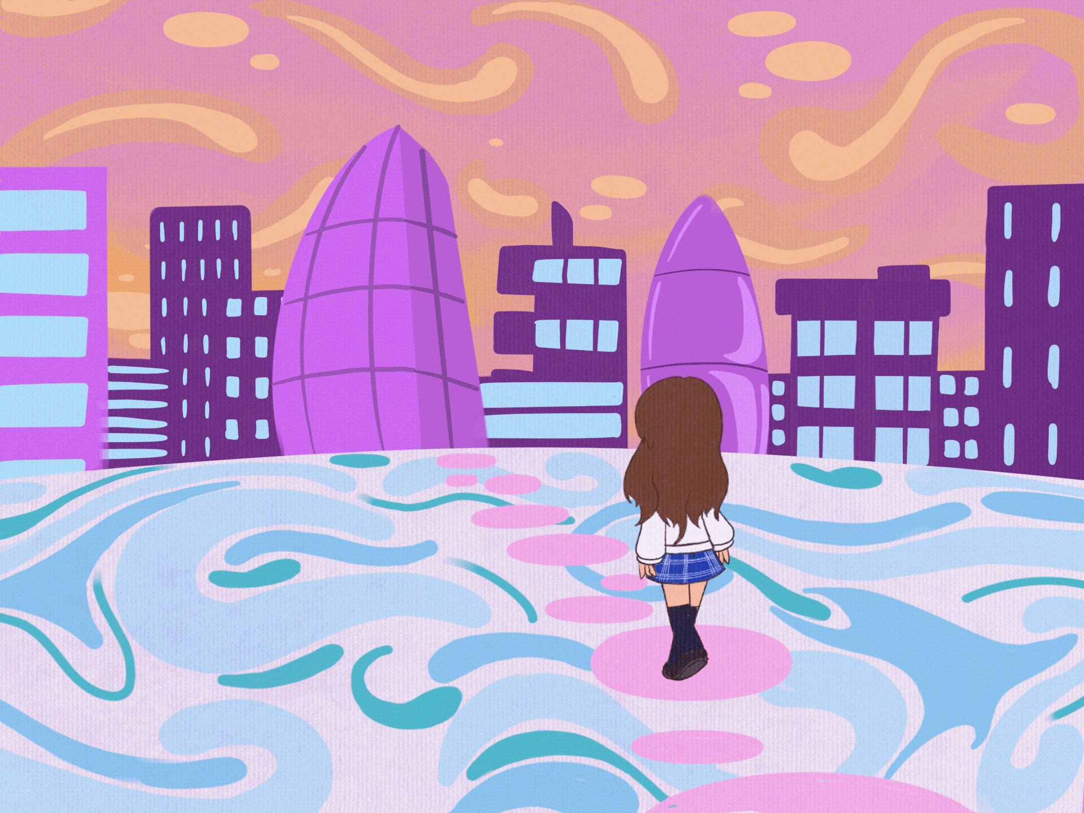 A figure with her back to the audience approaches a purple cityscape scene. The floor below her has a pink, blue and white pattern.
