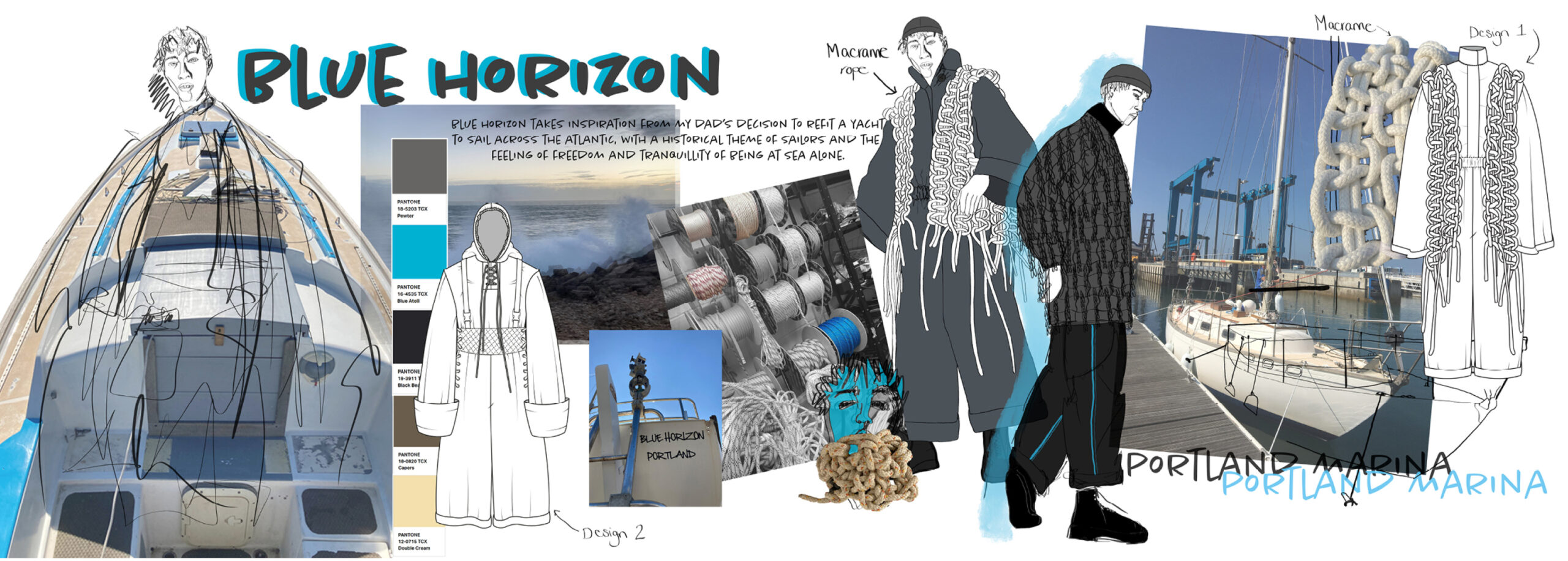 Portfolio page with illustrations, working drawings and a mood board