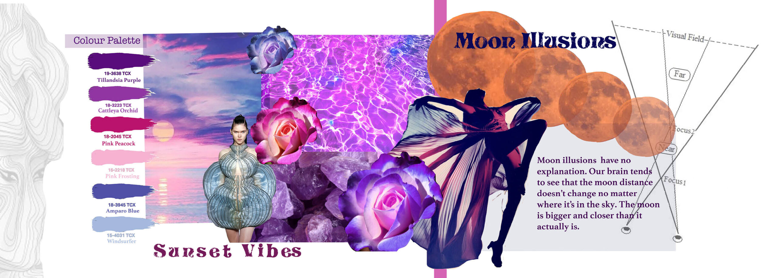 Portfolio page mood board with colours and psychedelic images