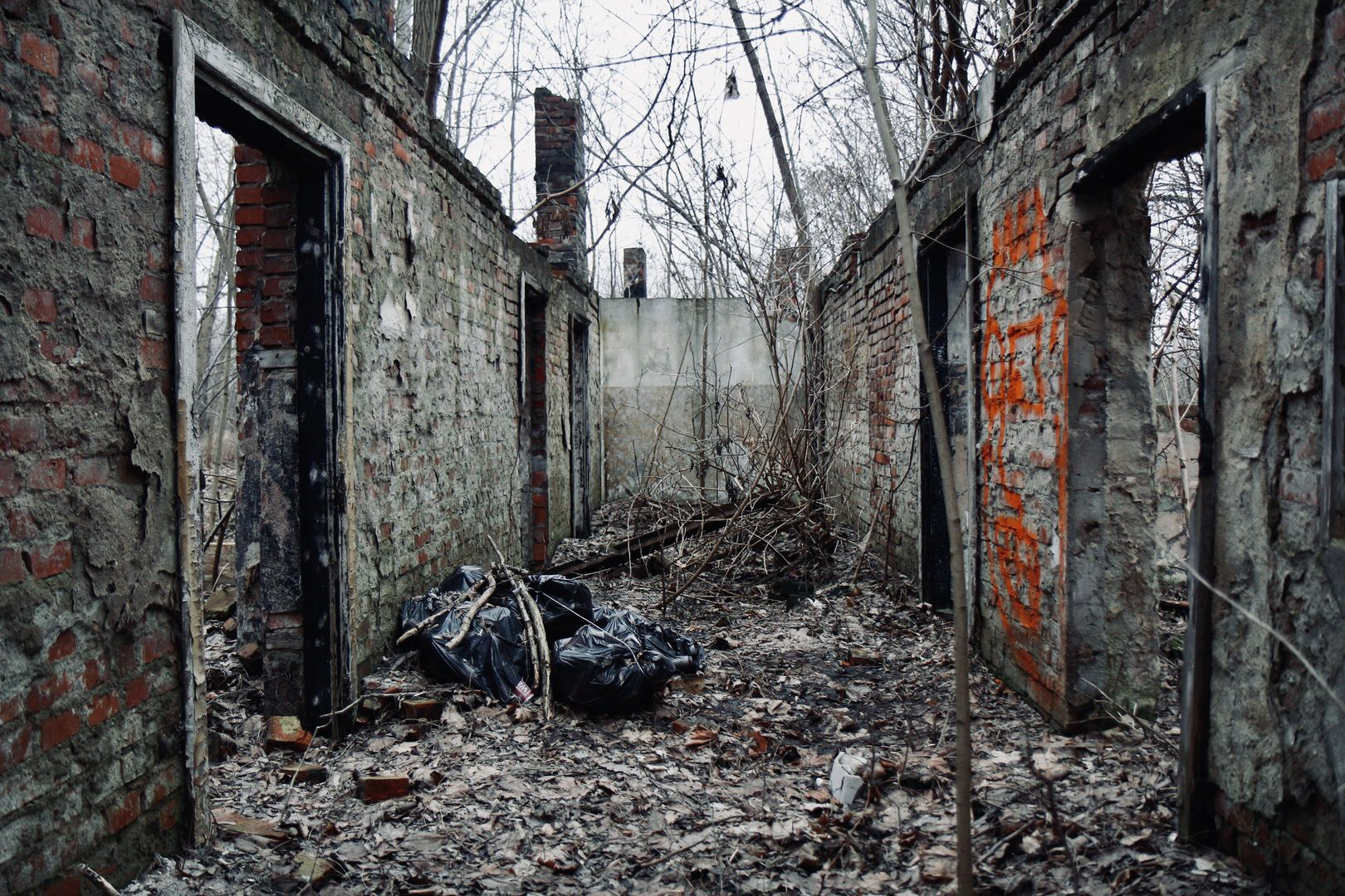 The exterior of some abandoned buildings