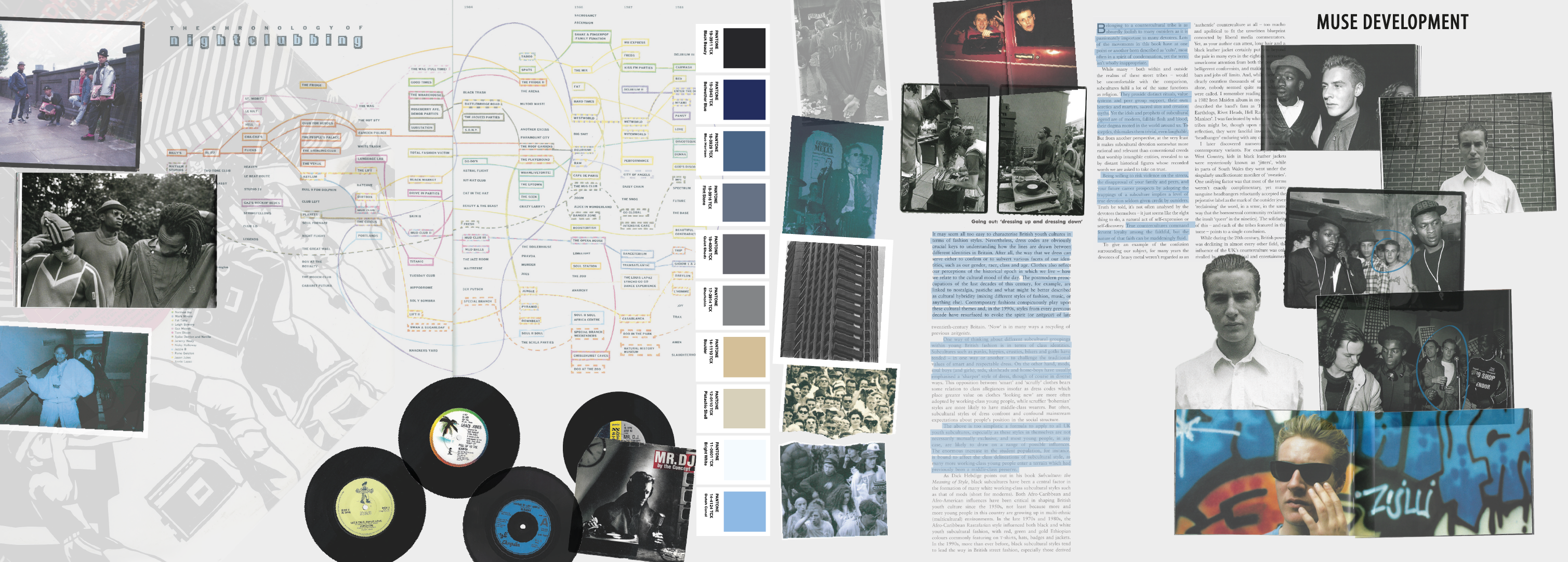 Portfolio page with research into clubbing, photographs, music, colour swatches and historical background