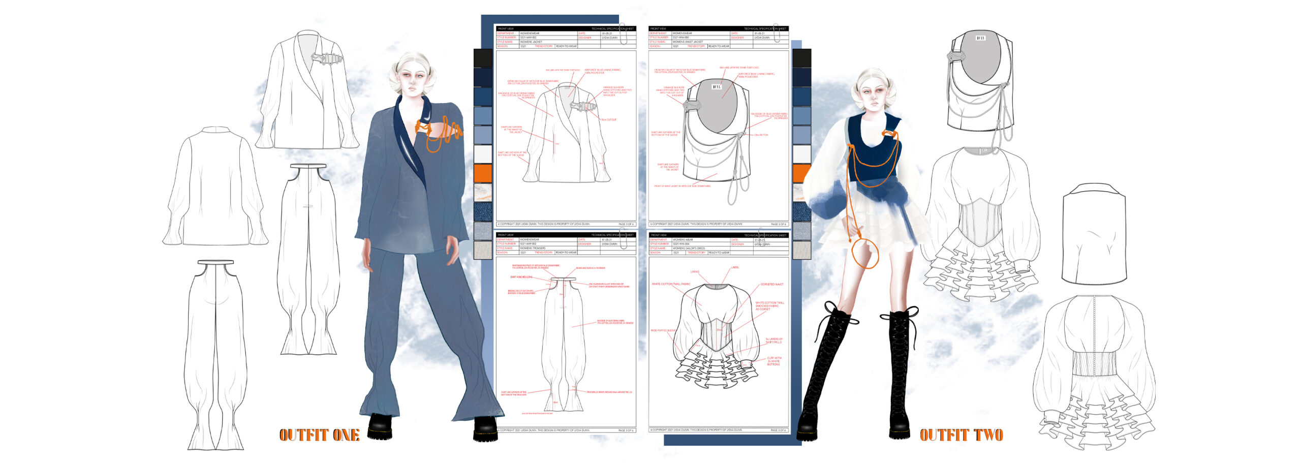 Portfolio page with technical specification pack, sketches from line up and working drawings