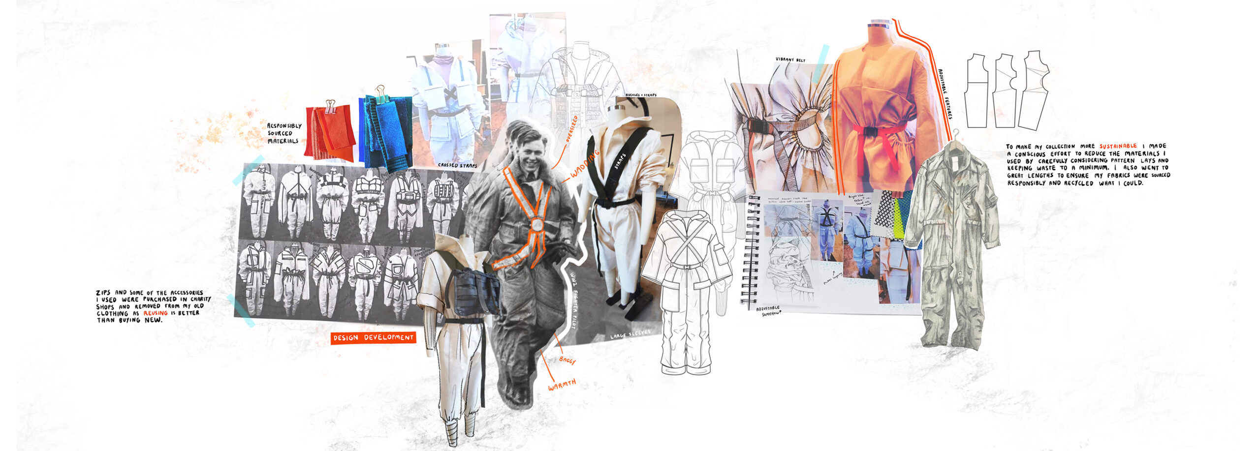 Portfolio page with design development, sketches, photographs of toiles and garments on stands