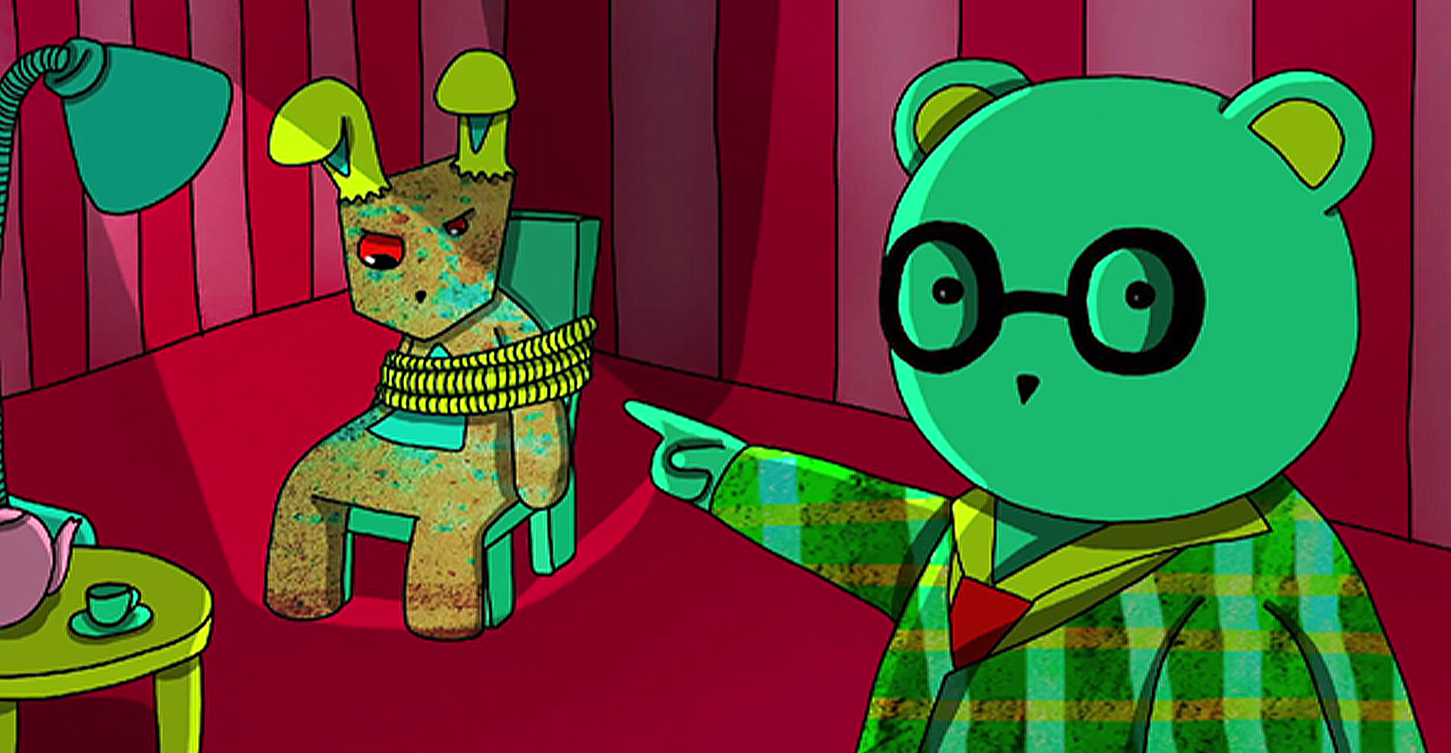 A film still from an animationfeaturing a green teddy bear