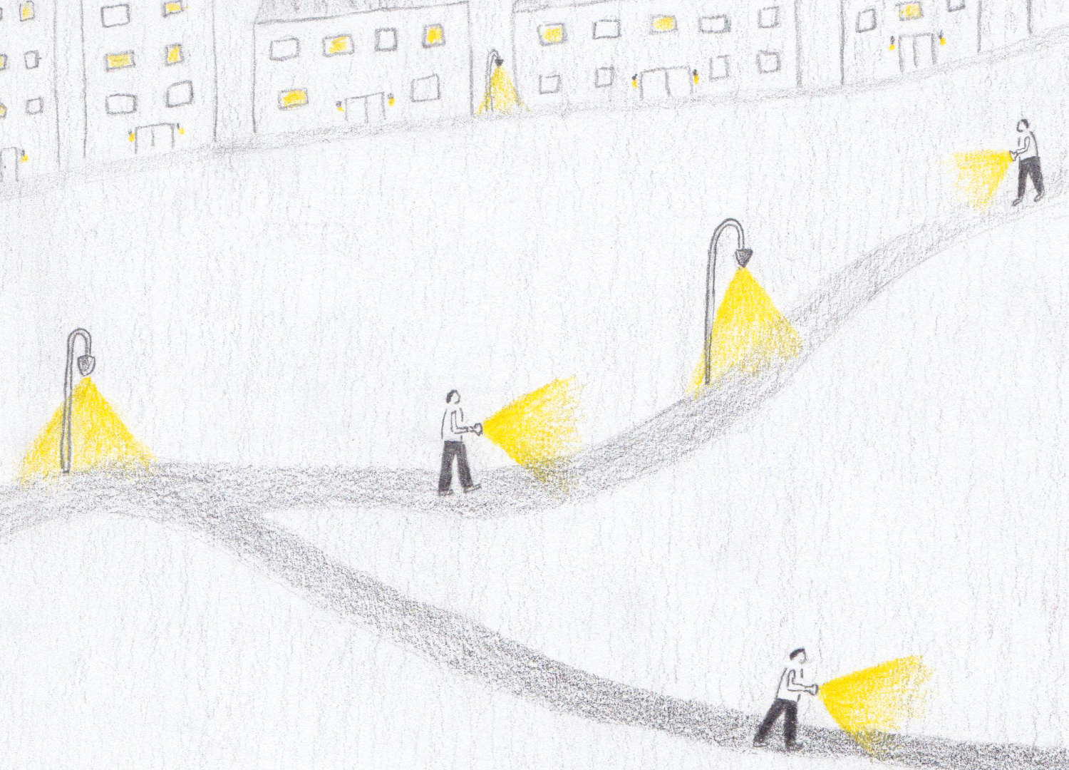Three figures holding torches walking the streets at night-time during the pandemic