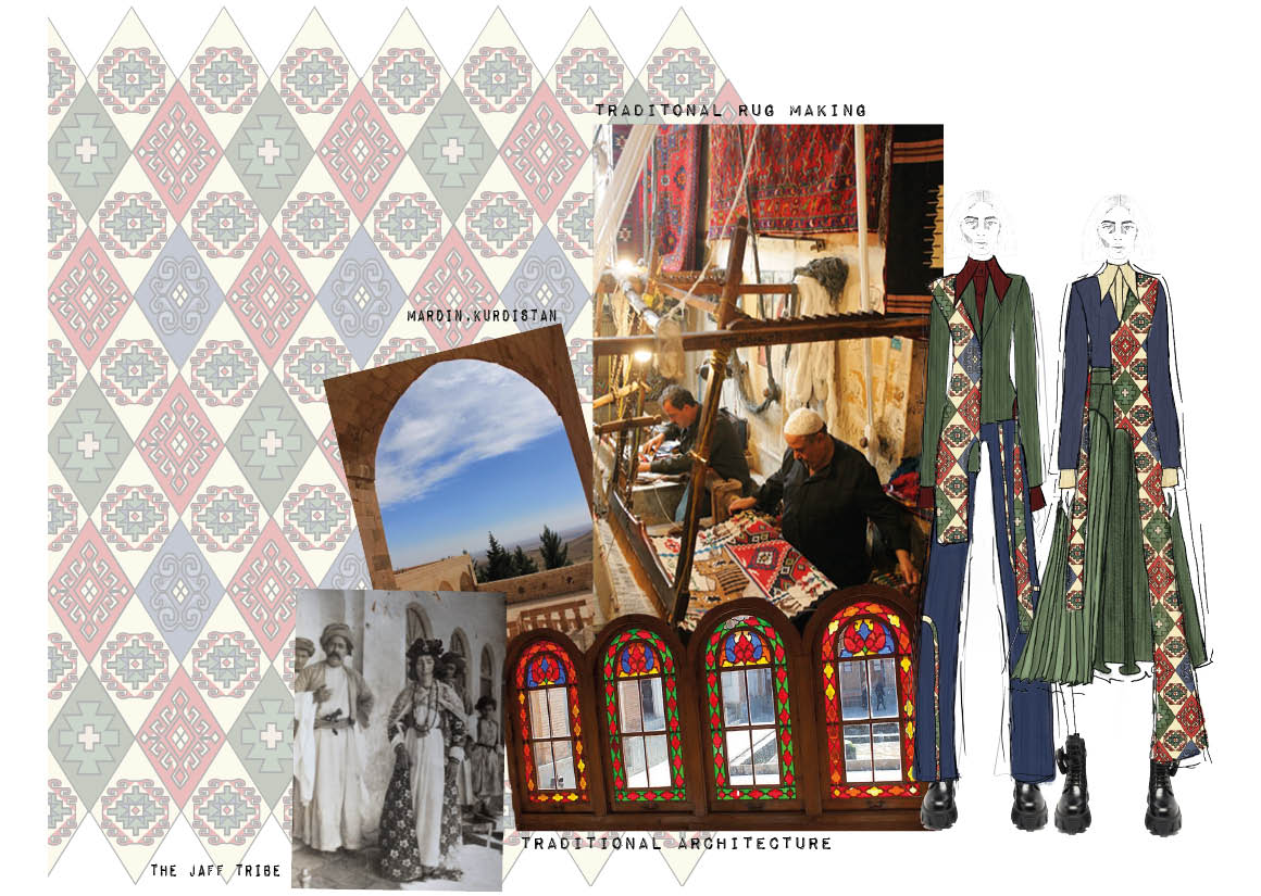 Portfolio page with cultural heritage research, mood board, sketches