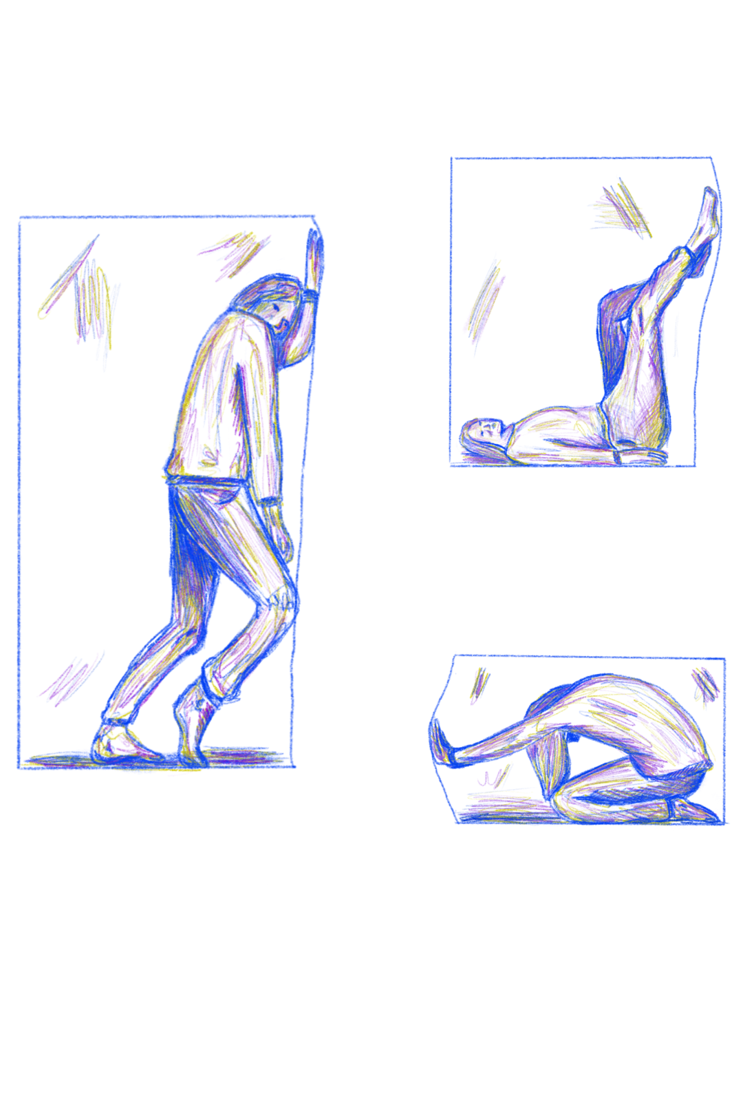 Three images showing a person trapped inside a rectangular box. In the first they area leaning against the side, in the second they are lying on their back and pushing against the box with their feet, and in the third they are crouched over on the floor, pushing at the box with their hand