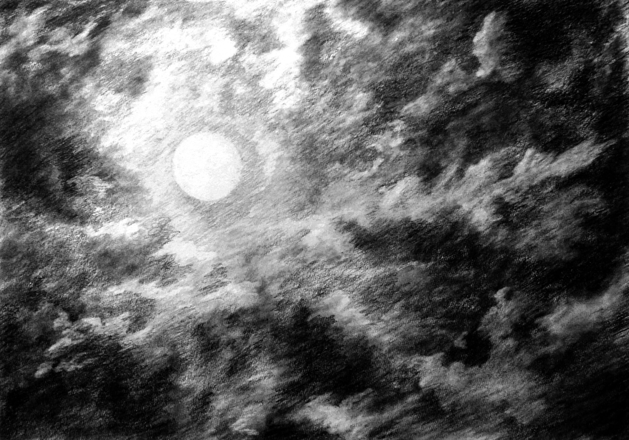 A pencil rendering of a cloudy night sky. The moon shines brightly through the clouds