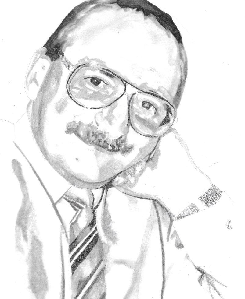 A drawing of a middle aged man with a moustache